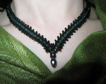 St. Petersburg necklace in black and green jade