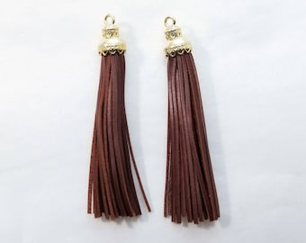 5pc, Large Brown Leather Tassel, 55x10mm - TC-0015