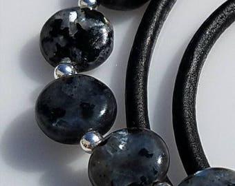 Labradorite & Black Leather Wrap Bracelet