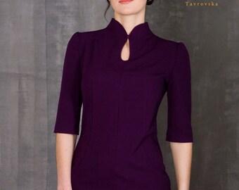 Purple Pencil Dress by TAVROVSKA, Stand Collar, Mandarin Cocktail Dress,  Half Sleeve, Office, Vintage collar, Robe, Vestito