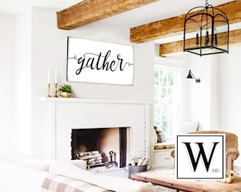 GATHER Sign Gift For Her Shiplap Sign Large Gather Sign Gather Wood Sign Fixer Upper Sign Home Decor Wall Art Rustic Home Decor Farmhouse