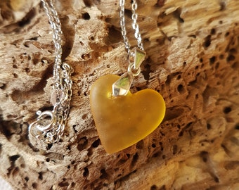 Yellow seaglass heart. Seaglass pendant. Seaglass necklace. Silver necklace. Handmade necklace. Beach glass. Hand carved seaglass heart.
