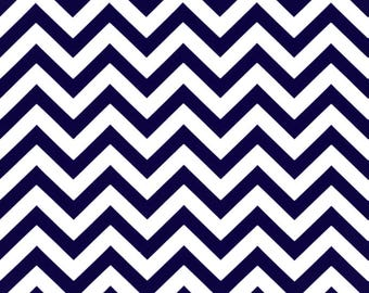 Zigzag Blue - Premier Prints | Fabric By The Yard | Chevron Fabric | Navy Chevron Fabric | Made in the USA | Cotton Drapery