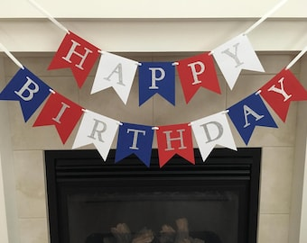 Red White and Blue Birthday Banner, Happy Birthday Banner, Patriotic, Birthday Party Decoration, Photo Prop, Silver Glitter