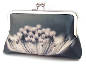 Flower clutch bag, silk purse, monochrome bag, black, grey, woodland wedding, flower petals, Astrantia