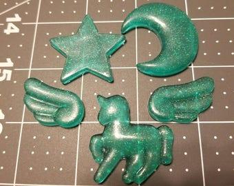 Teal resin unicorn, moon, star, wings
