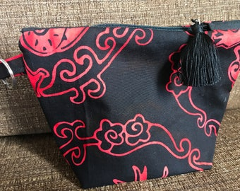 Dragon Ring fabric - Zippy with key ring and tiny tassel pull