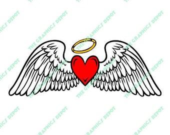 angel wings heart etsy rh etsy com angel wings with heart tattoo meaning angel wings with heart clipart
