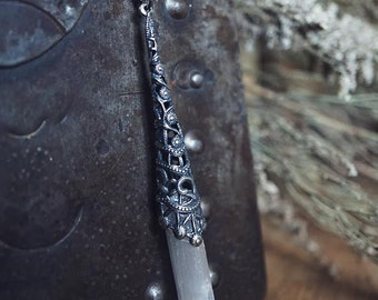 Selenite Wand Necklace - Moon Crystal - Boho Layering Necklace