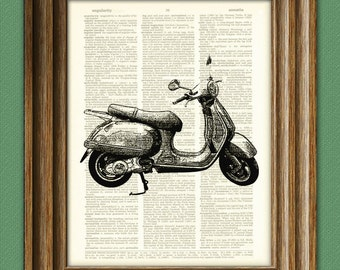 Vroom VESPA SCOOTER moped beautifully upcycled vintage dictionary page book art print
