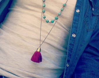 Tassel necklace,Turquoise Beaded necklace,Red Tassel Necklace, Boho Necklace, Hippie Necklace, Gypsy Necklace