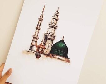 Masjid An-Nabawiy Watercolour Print