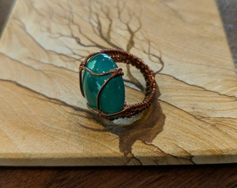 Jade Copper Wire Wrap Ring Size 4