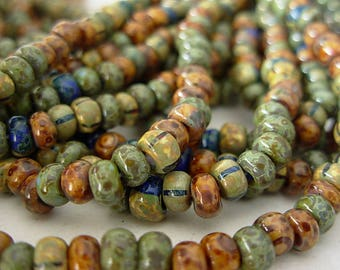 """Picasso Seed Beads, 4/0 Czech Seed Beads, Aged Picasso- Mosaic Striped Mix (1/19.5"""") #501B"""