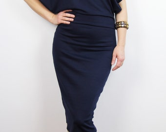 navy blue midi dress / women oversized dress  / fitted midi pencil dress / midi dress/ knee length dress/ casual dress, navy dress