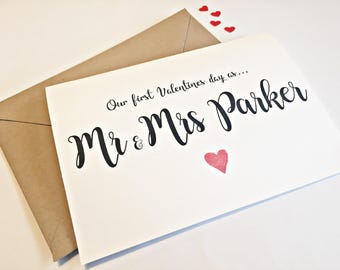 First Valentines as Mr and Mrs Card, Personalised Valentines card, Valentine's Day Card, Valentines Card for wife, Husband Valentines card