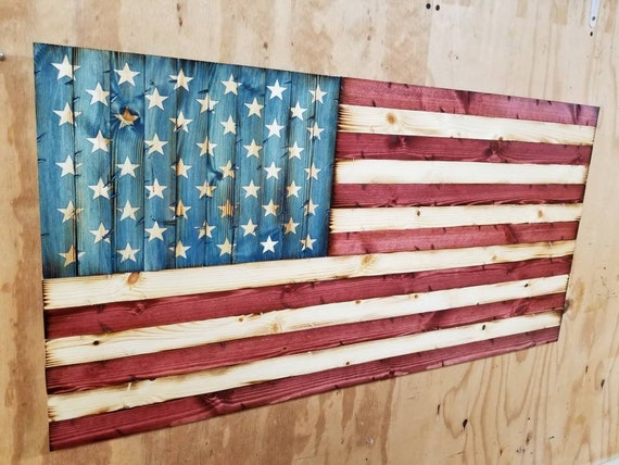 """Rustic Wooden """"Americana Style"""" American Flag"""