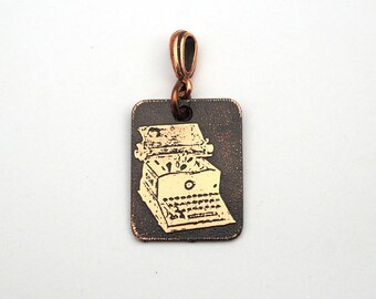 Copper typewriter pendant, small flat rectangular etched metal Sun manual, 25mm