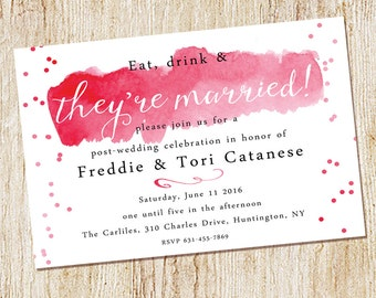 Wedding Brunch Invitation - watercolor invitation - Wedding Party - Digital file or PRINTED - Confetti - Post Wedding celebration