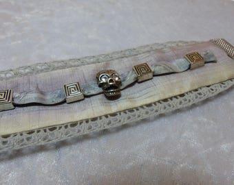 painted silk Cuff Bracelet