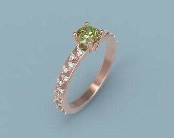Peridot Engagement Ring Rose Gold Peridot Ring Peridot Diamonds Rose Gold Engagement Ring Peridot Halo Engagement Ring