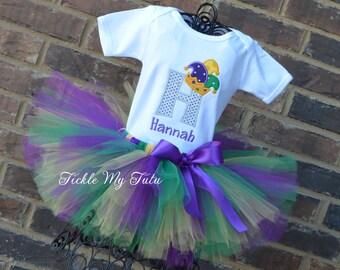 Mardi Gras Tutu Outfit-Mardi Gras Initial Jester Hat Tutu Outfit-My First Mardi Gras Outfit-Mardi Gras Pageant Outfit-Mardi Gras Tutu Set