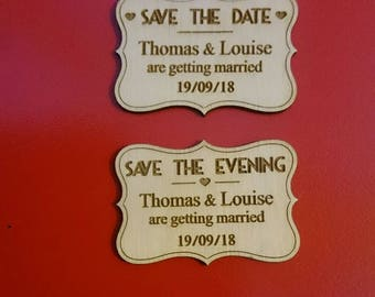 Save the date art deco style fridge magnets engraved rustic wood personalised wedding wooden laser engraved