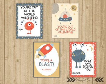 Kids Valentine Cards | Outer space Valentine Cards | Boy Valentine Cards | Alien Valentines | Rockets | Set of 4