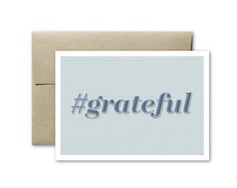Hashtag Grateful Card - Thank You Card - Wedding Thank You Card - Just Because Card - Blank Card - Simple Thank You Card - Hashtag Card
