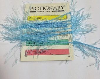 3 yards blue boho trim fibers yarn, blue fibres, blue trim, blue yarn,  boa trim, blue eyelash trim, blue feather trim