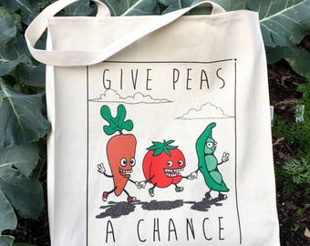 OkieSeoul - GIVE PEAS A CHANCE Canvas Grocery Tote