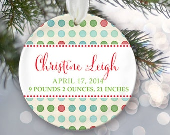 Personalized Christmas Ornament Baby Birth Stats Baby Shower Gift New Baby Ornament Birth Announcement New Baby Gift Baby Keepsake OR156