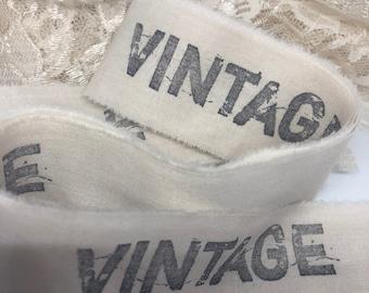 Vintage Muslin Trim, Hand Stamped Trim, French Style Ribbon, Old World Hand Stamped Trim,  French Country Trim, Paris Style Trim, ECS