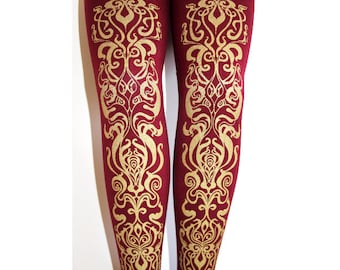Art Nouveau Printed Tights. Small, Medium and Extra Large, Gold on Burgundy. Bordeaux/Wine/Cranberry/Oxblood/Berry