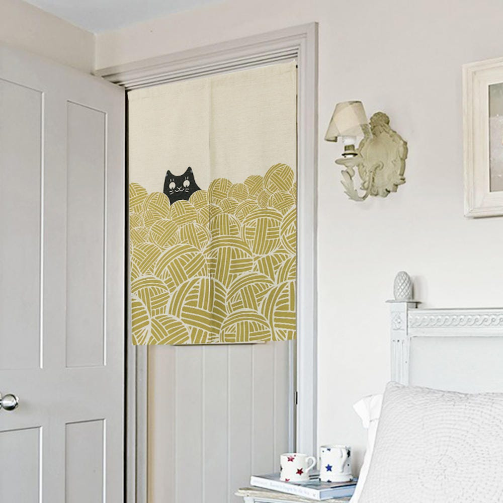 Cat and Yarn Ball doorway curtain door noren curtain short