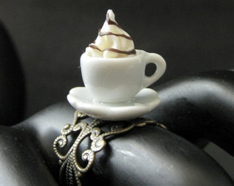 Ice Cream Ring with Chocolate Syrup Topping. Dessert Ring. White Teacup Ring. Bronze Filigree Adjustable Ring. Handmade Jewelry.
