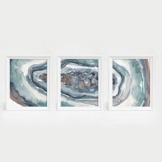 Trendy Wall Art Art Print Set Triptych Wall Art Opal Agate