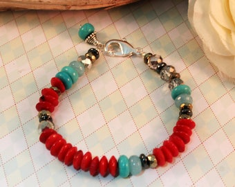 Red Coral, Turquoise, Chalcedony, Crystal & Pyrite Rondelle Bracelet - Boho Chic