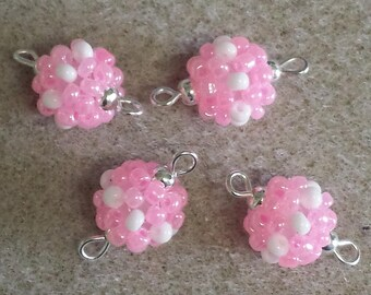 4 beads seed connectors (2.5 mm) pink clear/white