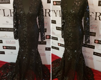 Custom Beyonce Sequinned Lace High Slit Long Sleeve Dress ( available in more colours) Prom/Weddings/Red Carpet/Occasionwear
