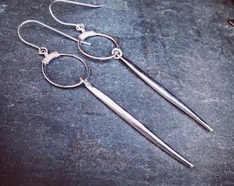 Simple silver earrings, silver dangle earrings, hoops, spike earrings, geometric