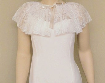 Wedding Cape Ruffle Bolero Shrug Lace Bridal Capelet Ivory Cape