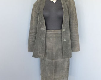 1980s Women's Suede Leather Suit, Olive Green Two Pc. Skirt & Jacket, DEERSKIN TRADING POST, Professional, size 14