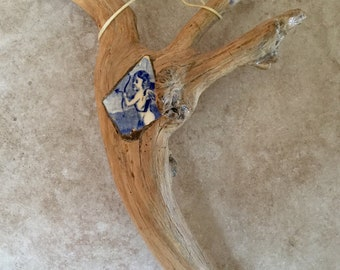 Antique Mexican Folk Art Twig Cross with Angel
