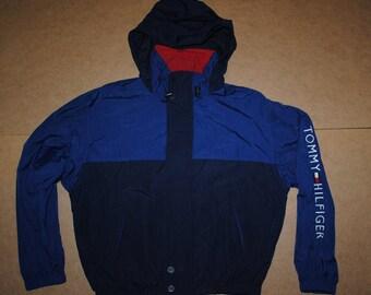 Tommy Hilfiger jacket, vintage Tommy sailing gear jacket of 90s hip-hop clothing, 1990s hip hop college jacket, OG gangsta rap size M Medium