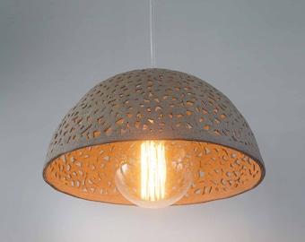 Ceramic lamp shade. Dome pendant light. Pendant lighting fixture. Kitchen light.