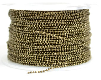 1mm Ball Chain - Antique Brass - CH131 - Choose Your Length