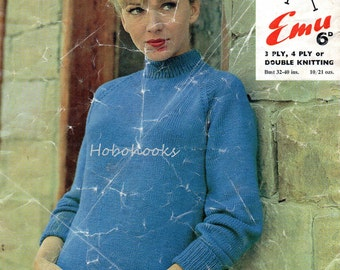 Vintage womens knitting pattern PDF ladies turtle neck jumper 1950s 32-40 inch  3Ply / 4Ply / DK PDF instant download