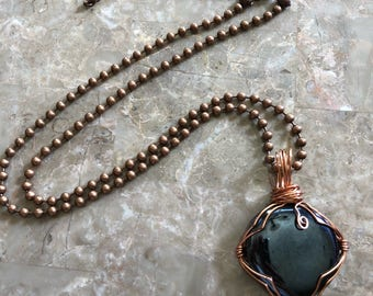 Copper wire wrapped necklace