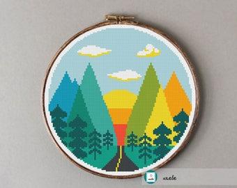 Road to mountains cross stitch pattern, modern cross stitch pattern, PDF, instant download